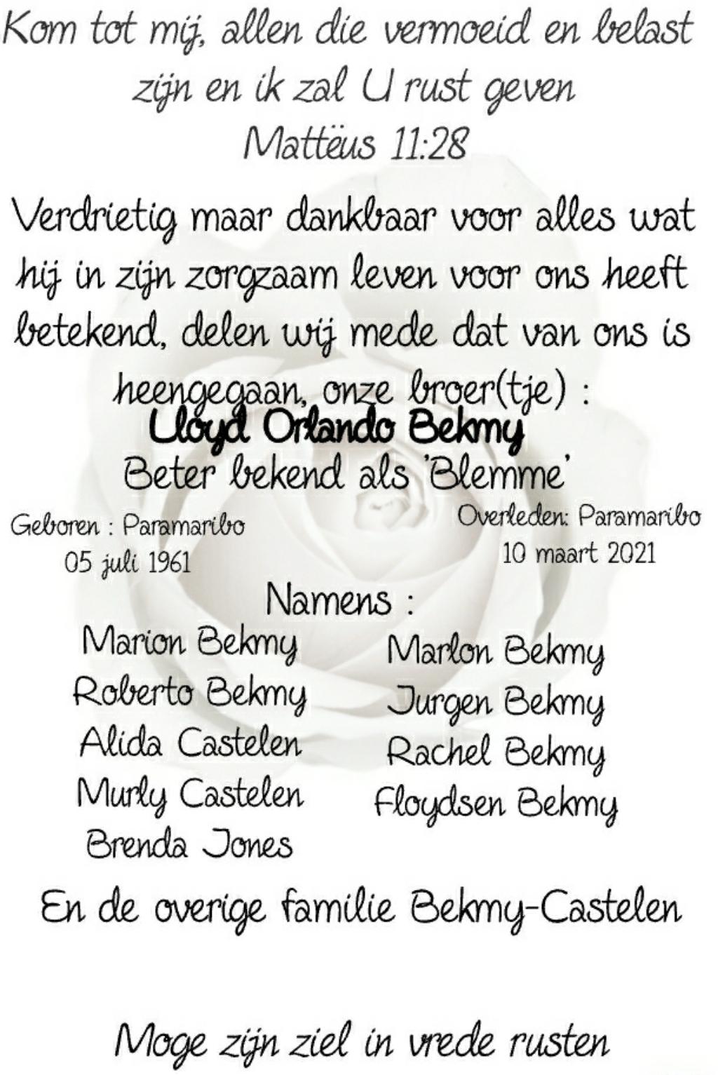 Lloyd Orlando Bekmy